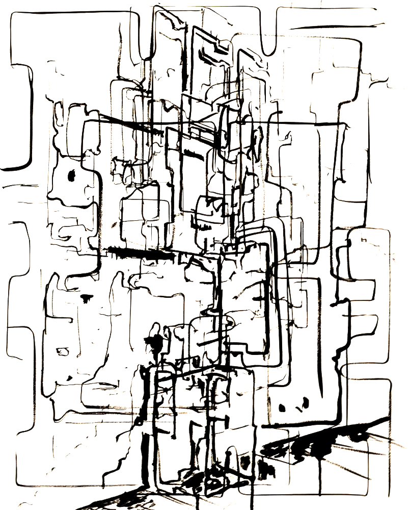 Totem 1, 2015, ink on wood, 30 x 24 in.