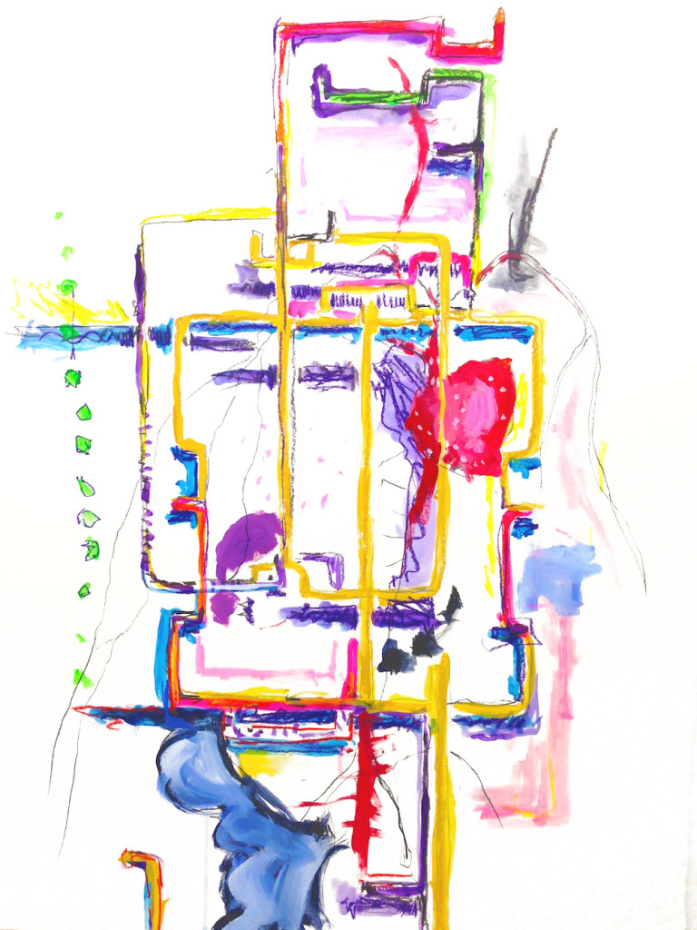 Totem 1, 2015 mixed media on paper, 30 x 24 in.