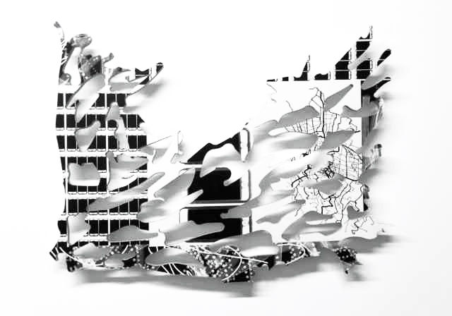 Organic 1, 2014, mixed media on wood, 20 x 20 x 2 in.