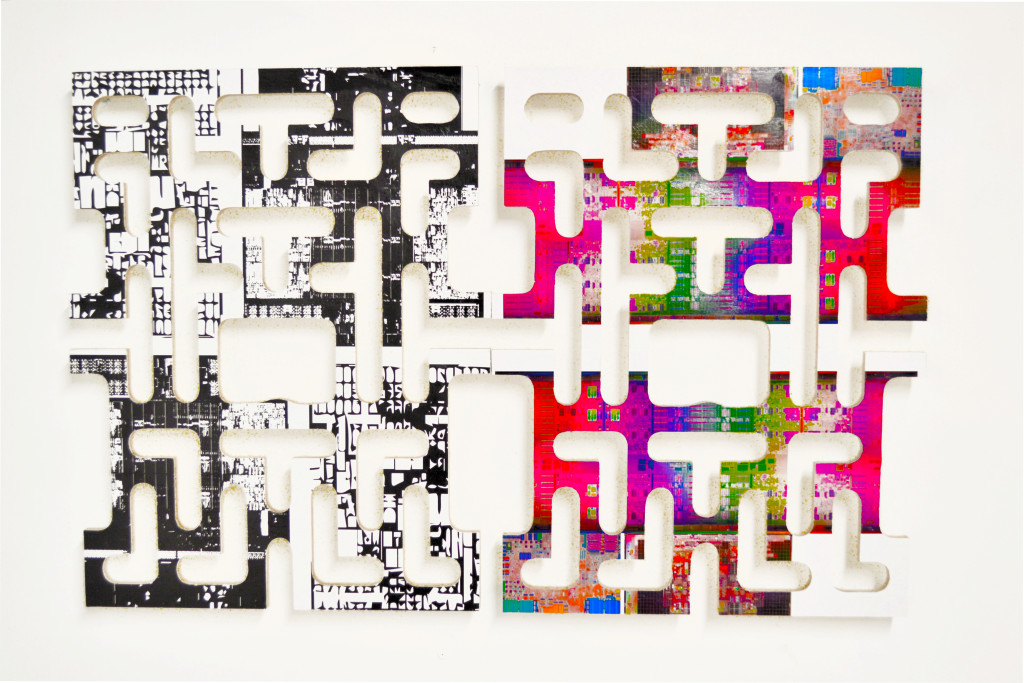Double Maze, 2014, mixed media on wood, 42 x 24 x 2 in.