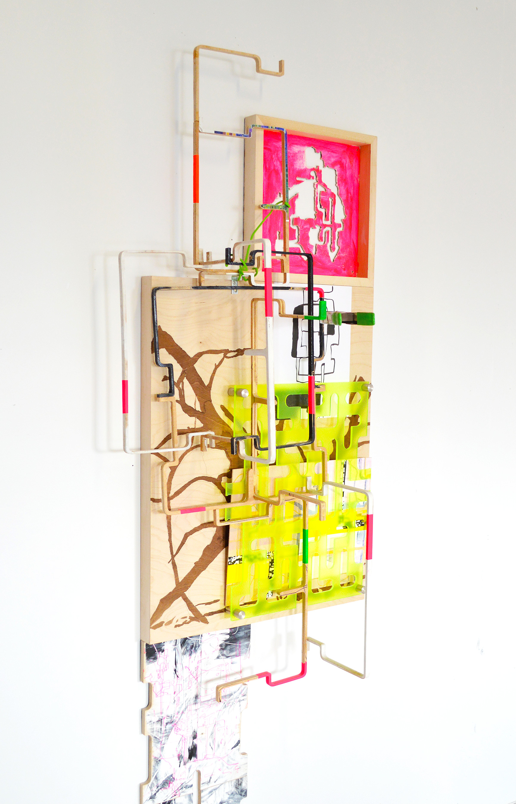 BS-i1-3.0_2015, 2015-16, Mixed media on wood, paper, and lucite, 78.5 x 27 x 11.75 inches