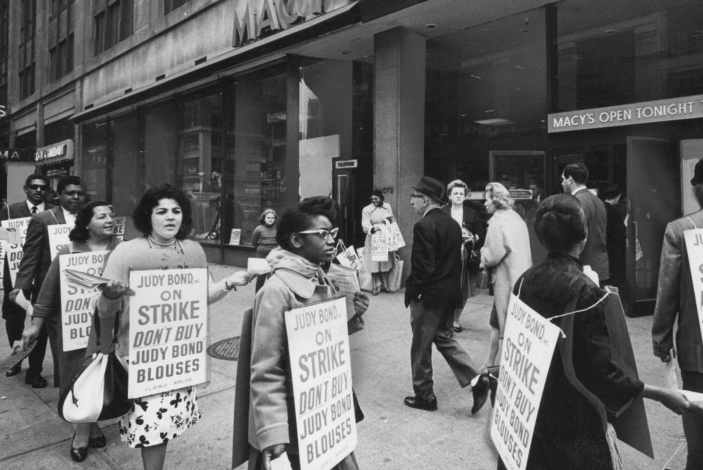 Picketing ILGWU members outside Macy's department store urge shoppers not to buy Judy Bond blouses. Circa 1965. Courtesy Kheel Center for Labor-Management Documentation & Archives, Cornell University.